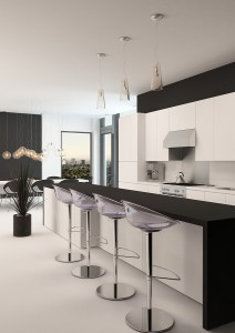 Modern black and white kitchen with a long receding bar counter